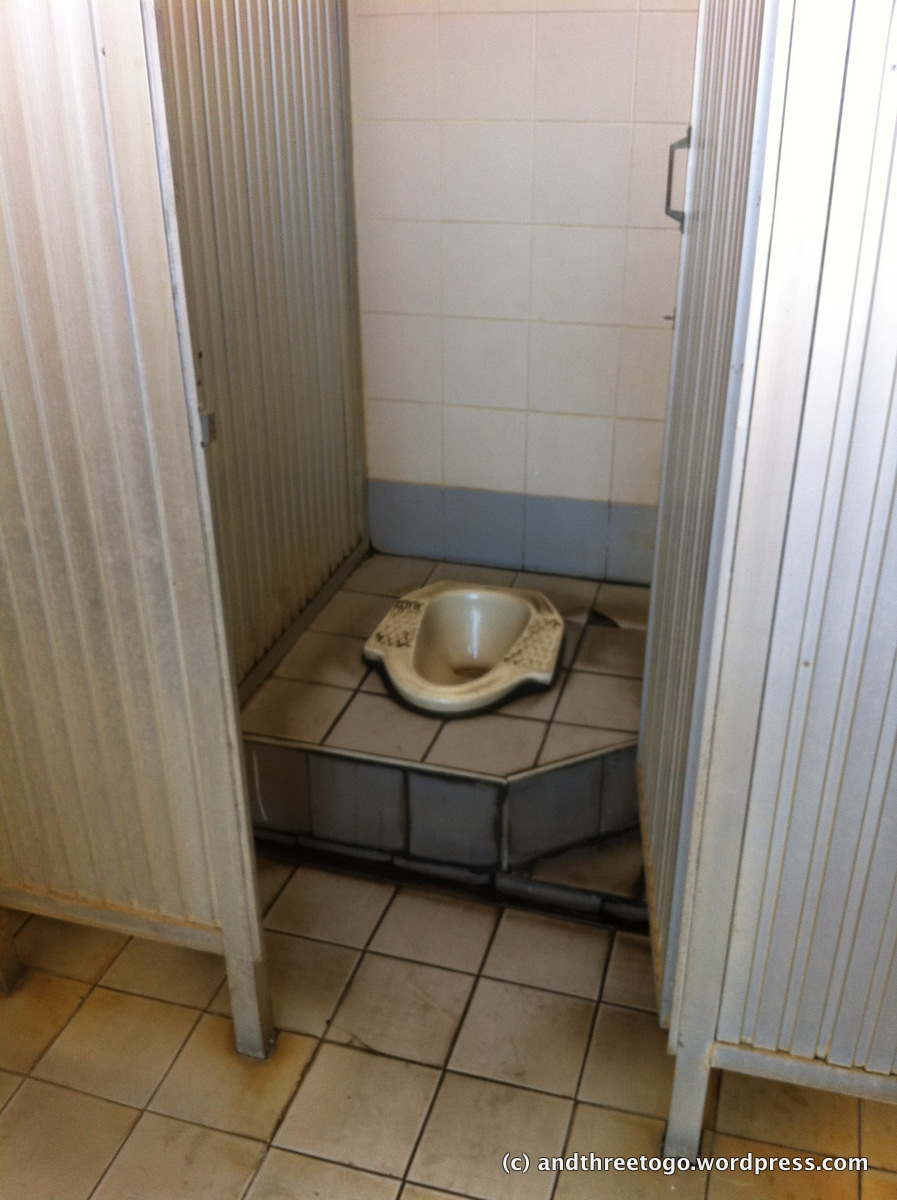 A gas station squat toilet. It looks dirty but was actually fairly clean. Just old. This look is pretty common for public toilets though.