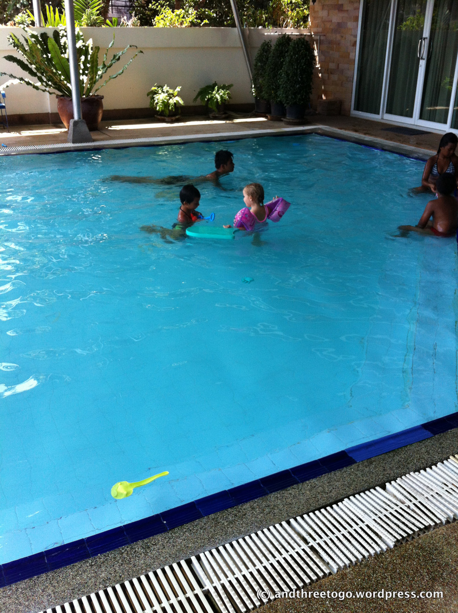 The swimming pool that is a couple of blocks from our house. It costs 70 baht ($1.75) per adult and 50 baht ($1.50) per child. We love it.