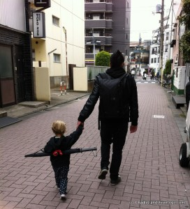 My favorite photo of Chad and Zoë on our way to see the sites in Tokyo, Japan.