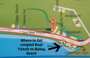 A close of of where to get long tail boat tickets to Railay beach.